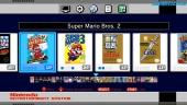 NES Mini - valikkonäkymä,, Super Mario Bros. -pelikuvaa ja grafiikkatilat