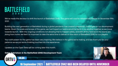 Battlefield 2042 has been delayed until November