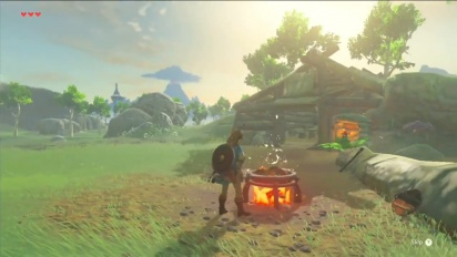 The Legend of Zelda: Breath of the Wild -video (Cooking and making a bridge)